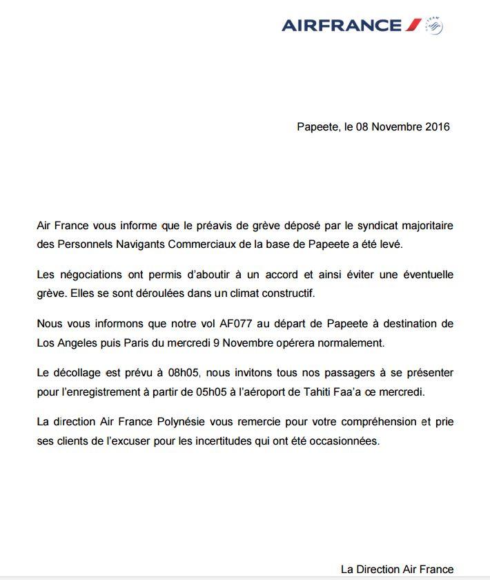 Air France: levée du préavis de grève, pas de perturbation sur les vols