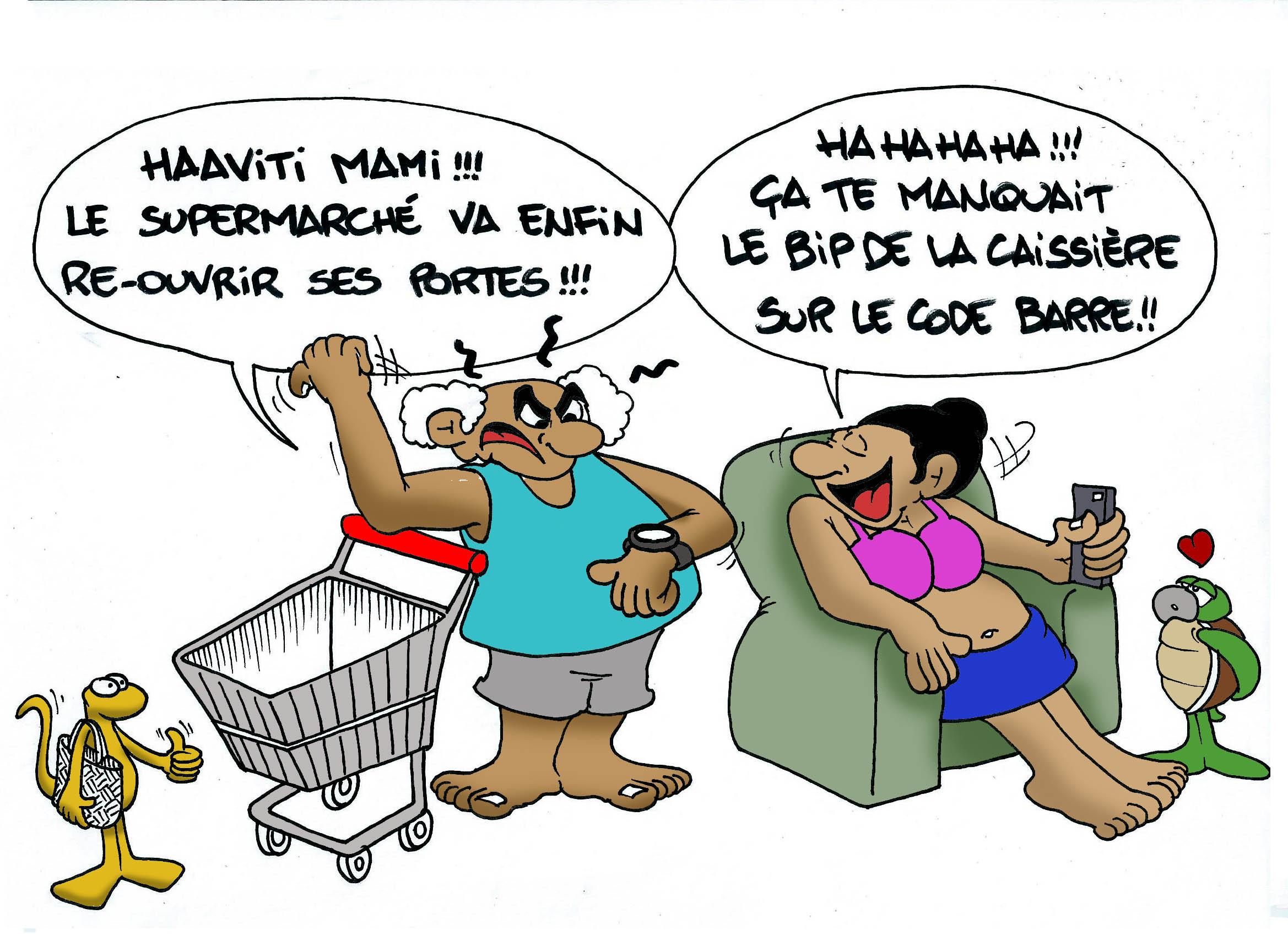 """"""" La réouverture de Carrefour """" vu par Munoz"""