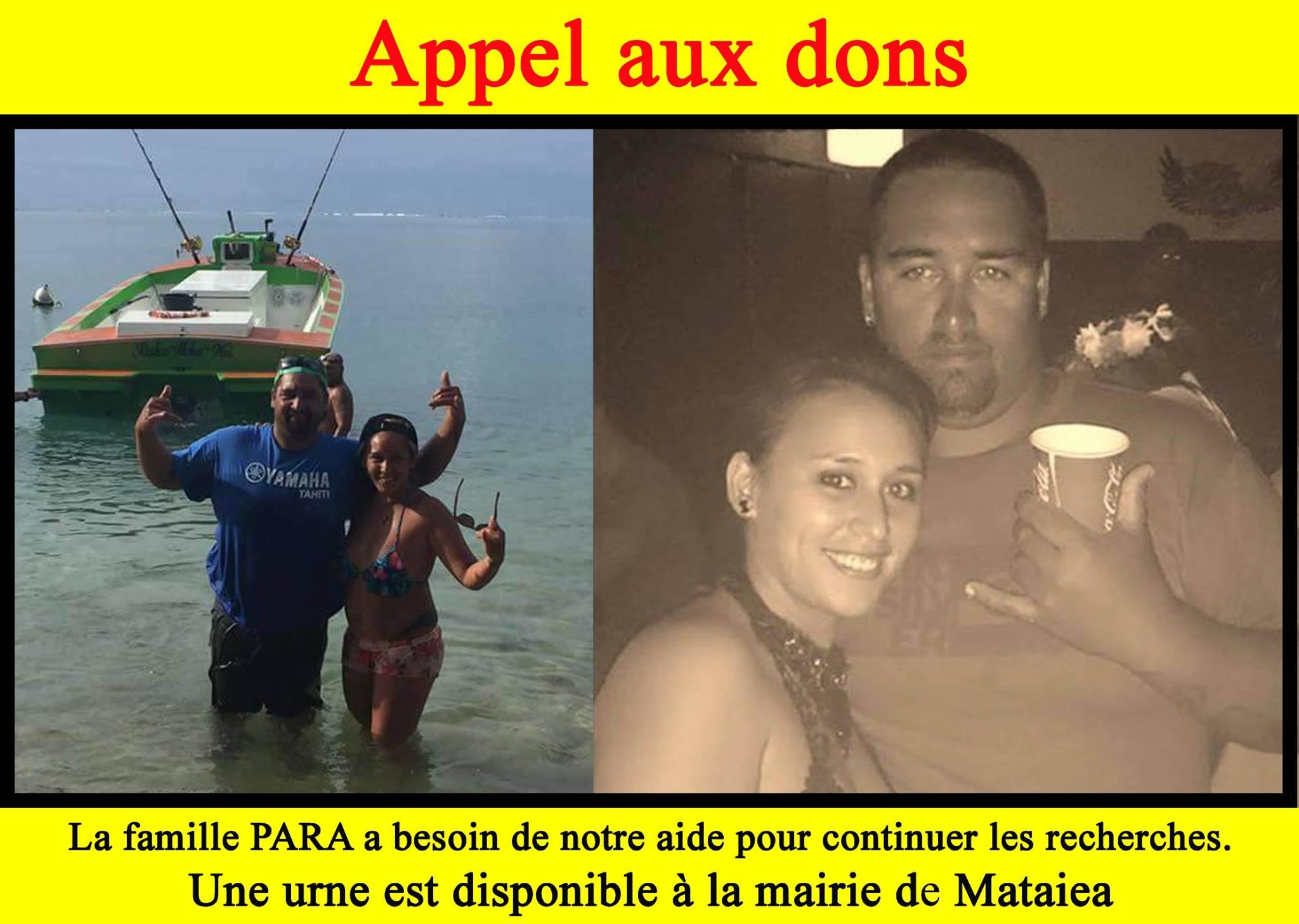 Laurent et Meherio Para sont portés disparus en mer depuis mardi dernier. Ce lundi, la famille a décidé de financer la poursuite des recherches et fait un appel aux dons.