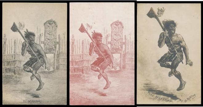 Robley avait un solide coup de crayon, comme en témoigne ce triptyque de guerriers maoris effectuant une danse guerrière, sans doute un haka.