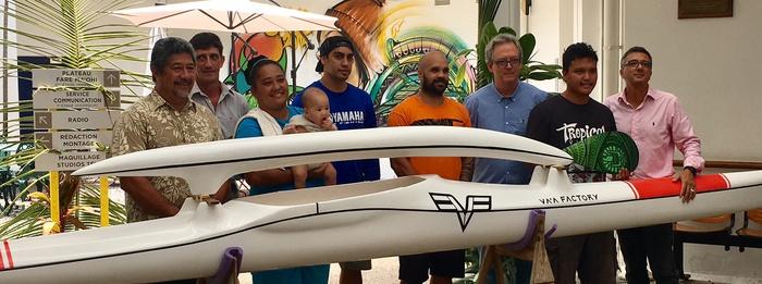 Lors de la remise des prix du concours Hawaiki Nui Va'a