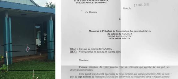 En attendant d'éventuels travaux, quatre zones du collège de Faaroa ont été délimitées par des cordes et sont interdites aux élèves.