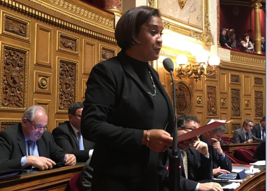 La sénatrice Lana Tetuanui, mardi au Palais du Luxembourg à Paris.