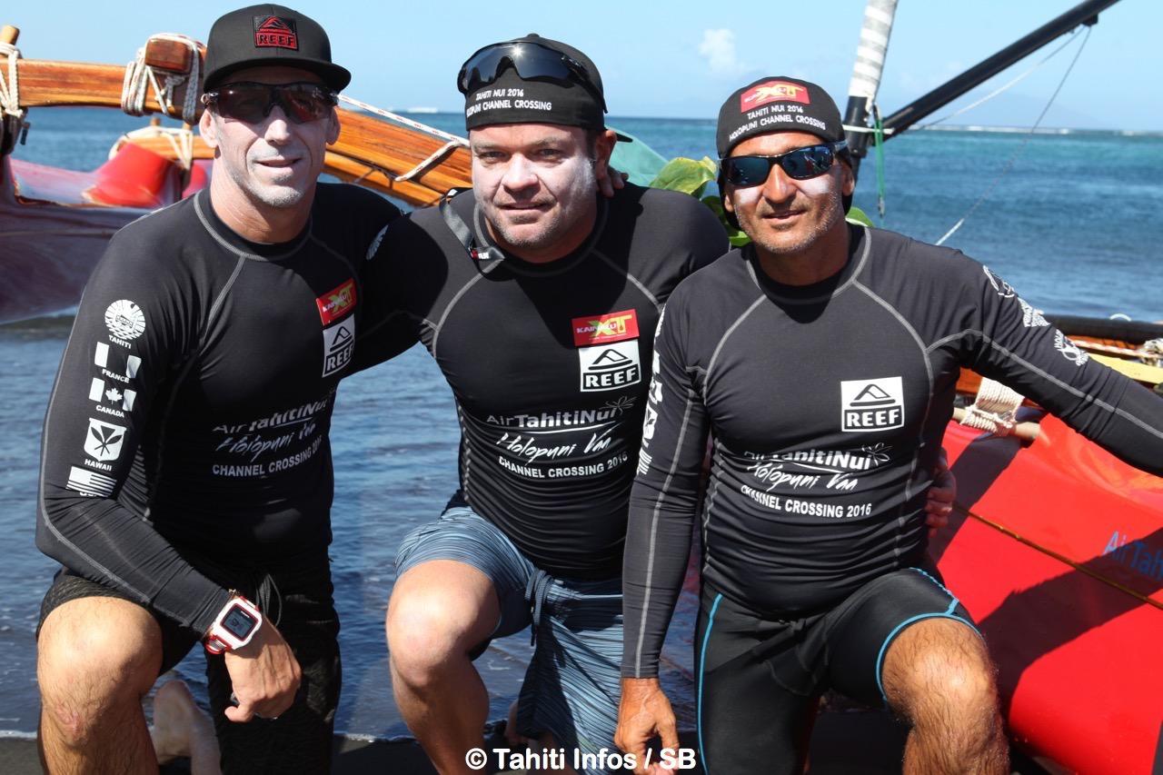 L'équipage Holopuni Moorea comoosé de Roch Frey, George Plsek et Laurent Grimault