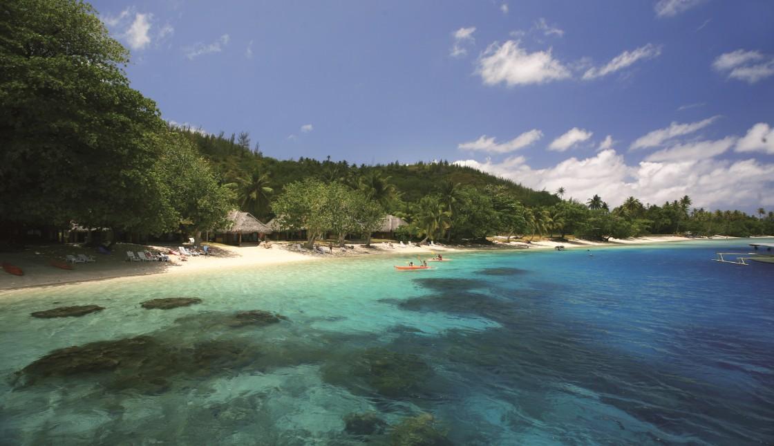 Une vue partielle de la plage de Avea, un trésor botanique ; ici, les arbres indigènes ou plantés par les anciens n'ont pas été remplacés par des cocotiers comme un peu partout ailleurs.