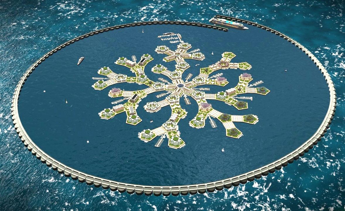 Une esquisse de ce à quoi pourrait ressembler le Floating island project.