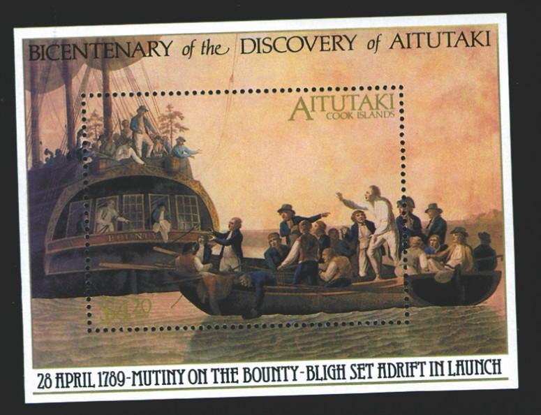 """Ce timbre, émis à l'occasion du bicentenaire de la découverte de Aitutaki, rend hommage à la mutinerie de la """"HMS Bounty"""", qui eut lieu après le passage de Bligh à Tahiti."""