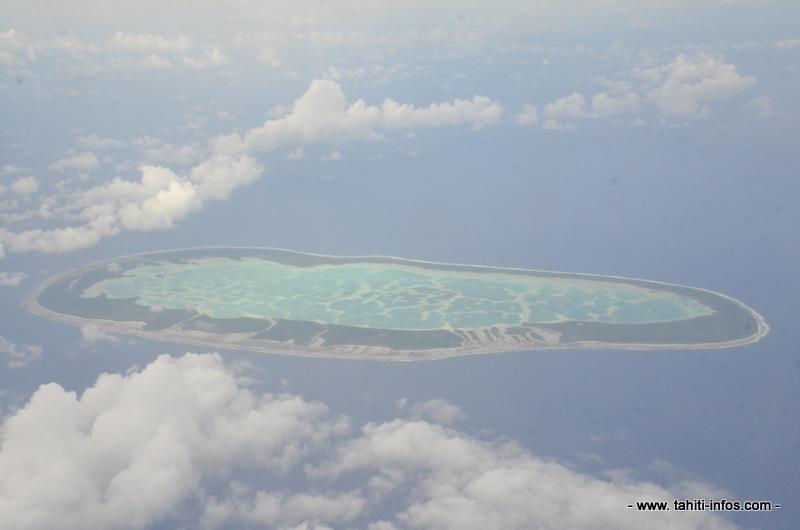 L'île de Mataiva, aux Tuamotu, vue du ciel.
