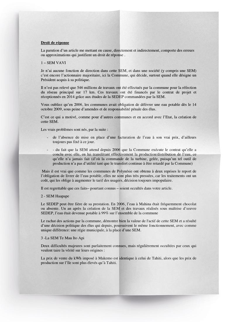 SEM Vavi: Dominique Auroy réagit