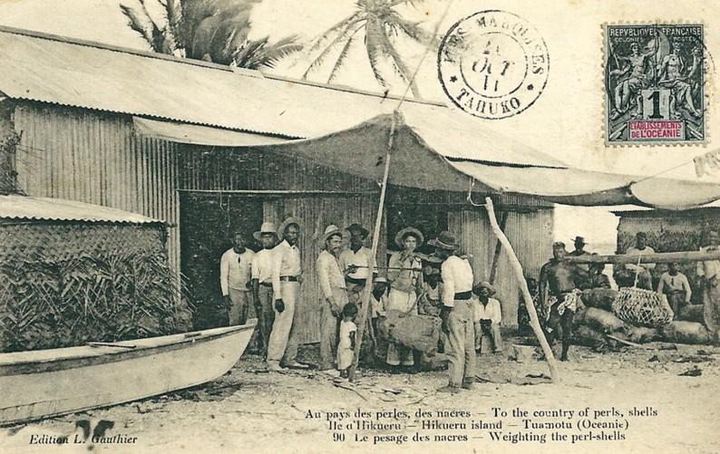 Le triage des nacres à Hikueru en 1912. Photo Lucien Gauthier.