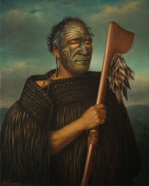 Tamati Waka Nene, huile sur toile, Auckland Art Gallery (101.9 x 84.2 cm), 1890.