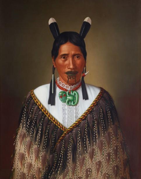 """Mrs Paramena, c. 1885, huile sur toile, Musée """"New Zealand Te Papa Tongarewa"""", acheté en  1995"""