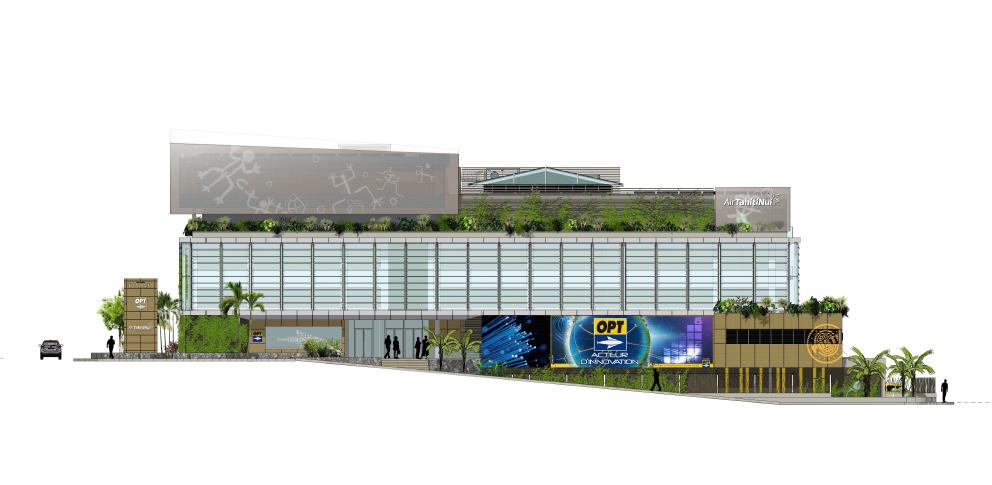 Façade visible depuis le parking de l'aéroport.