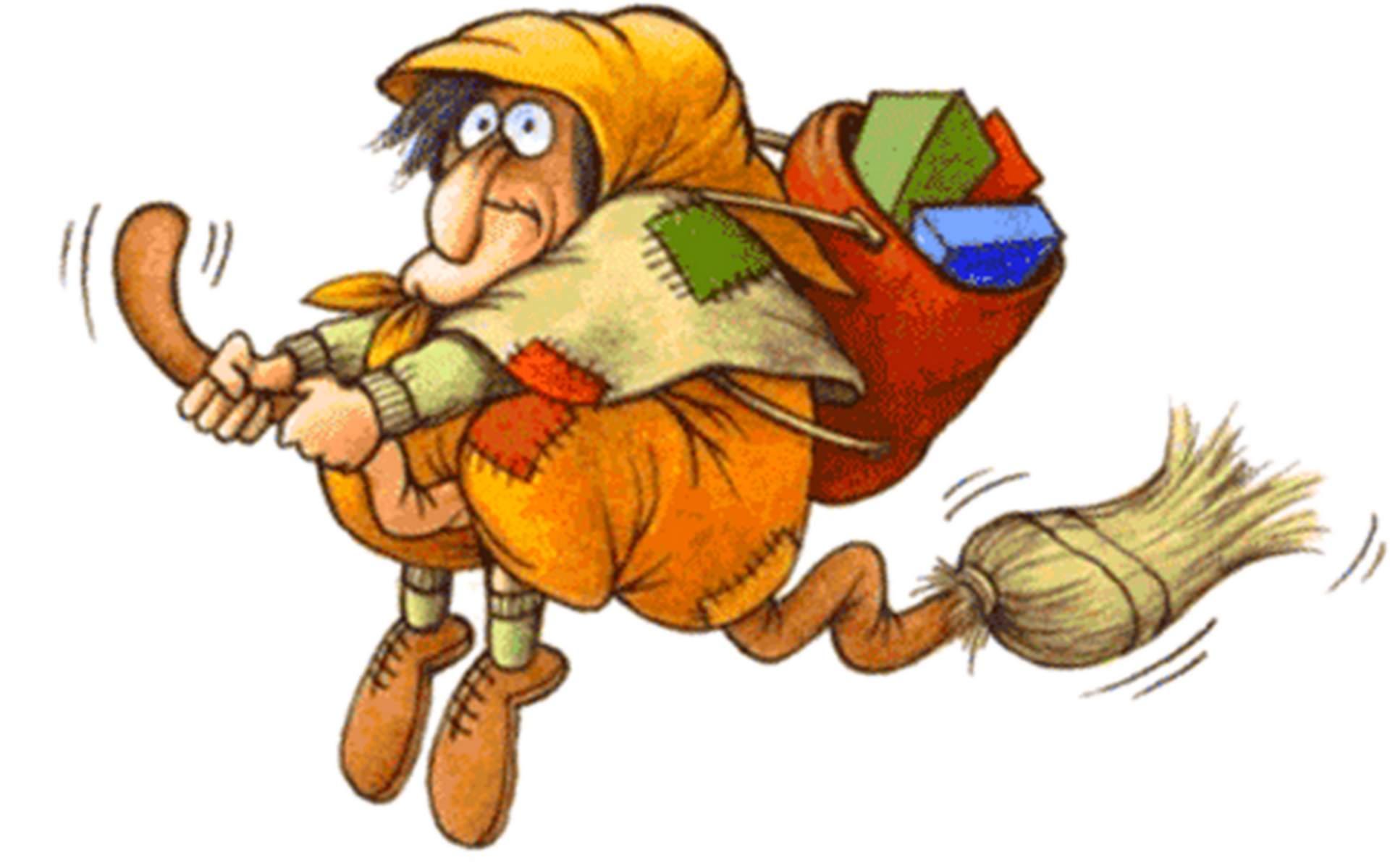 En Italie, une sorcière souriante qui vole sur son balai, donne bonbons et cadeaux aux enfants sages.