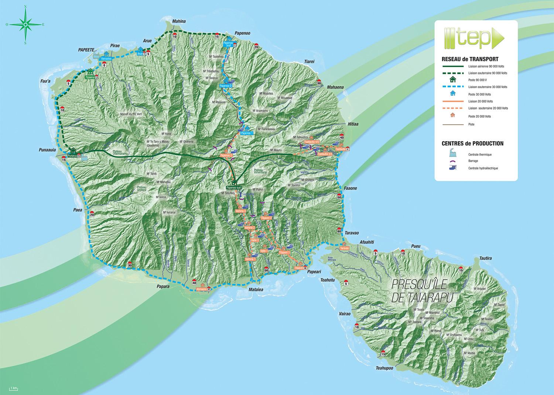Carte du réseau de transport électrique de la TEP, sur Tahiti.