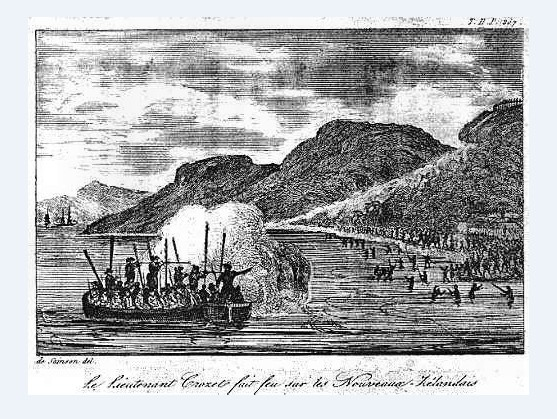 Après la mort du chef de l'expédition, les équipages attaquèrent les Maoris pour venger les 27 hommes tués et dévorés.