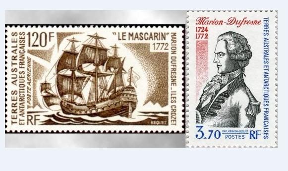 Ces deux timbres émis en hommage au navigateur montrent que l'orthographe de son nom demeure, aujourd'hui encore, imprécise : Marion Dufresne sur une vignette et Marion-Dufresne sur l'autre.