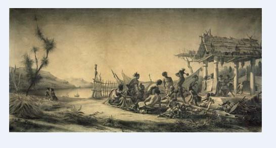 Un village maori tel que ceux que fréquenta l'explorateur français ; les ressources étaient maigres et les partager avec les Français n'était pas simple.