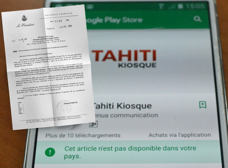 Le président Fritch demande à Google la possibilité, depuis la Polynésie française, d'acheter et de vendre des applications payantes via la plate-forme Google Play, sur Android.