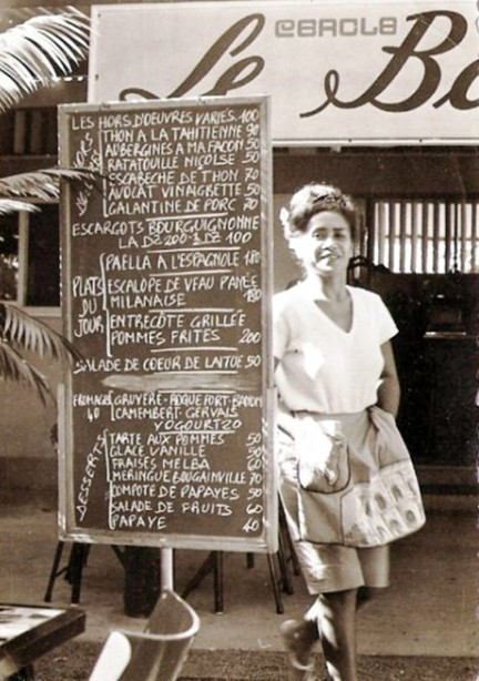 Carte d'un restaurant à Papeete en 1963