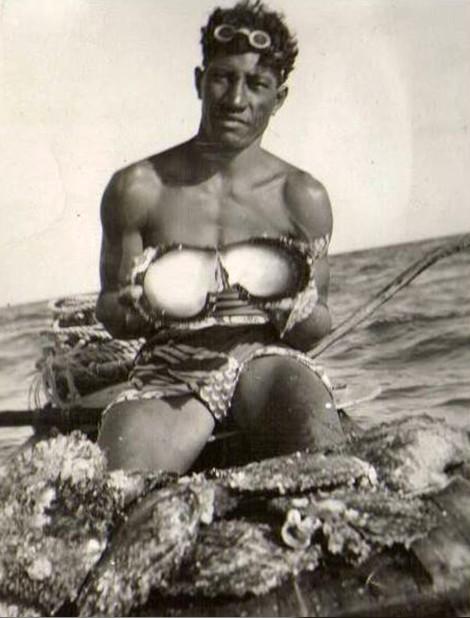 Plongeur de Nacres en 1955, photo Marcel lsy-Schwart.