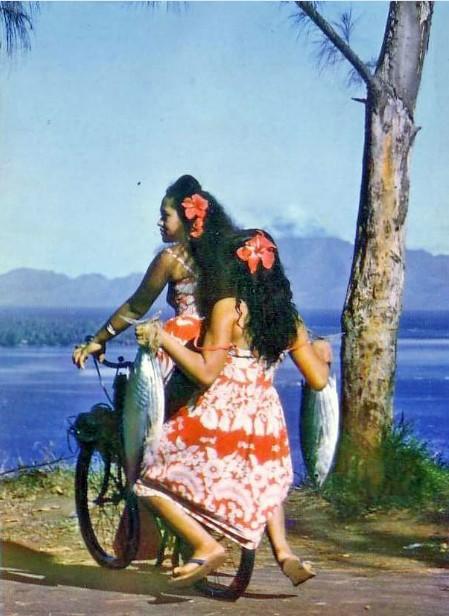 Tahiti, au détour de la route vers 1960. photo Marc Labaysse.
