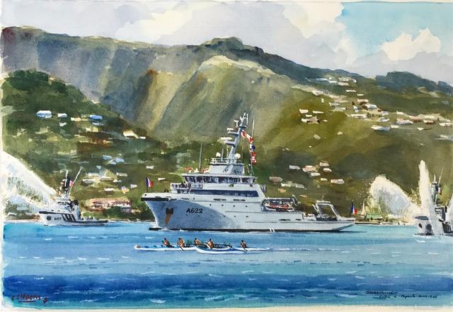"""L'exposition de peinture a pour thème """"La Marine et son environnement au fenua""""."""