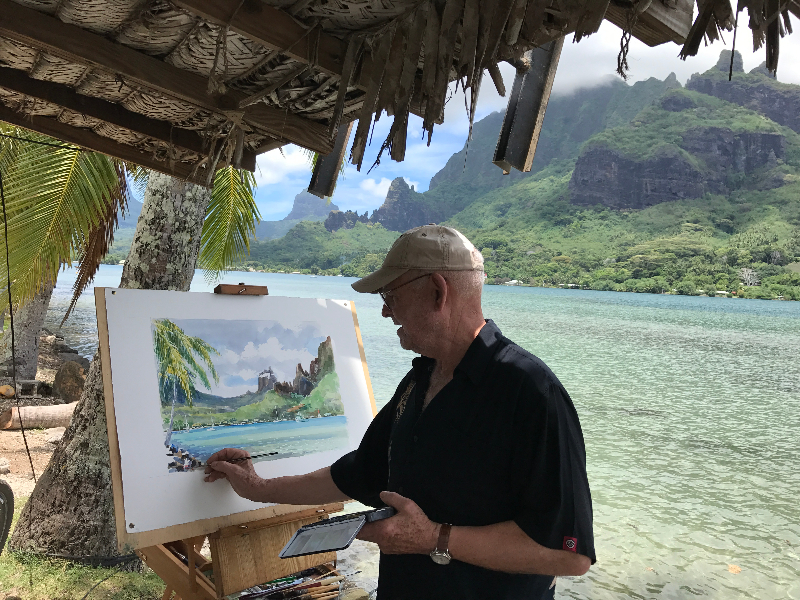 Guy L'Hostis réalise de belles aquarelles en s'inspirant de l'environnement polynésien.