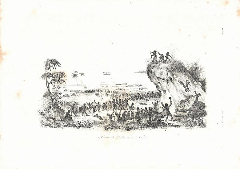 Cette gravure du XIXe siècle est célèbre et montre le combat de Dillon contre les Fidjiens, alors que le corps de Charlie Savage, en bas de l'image, est déjà prêt à être mis au four (collection DP).