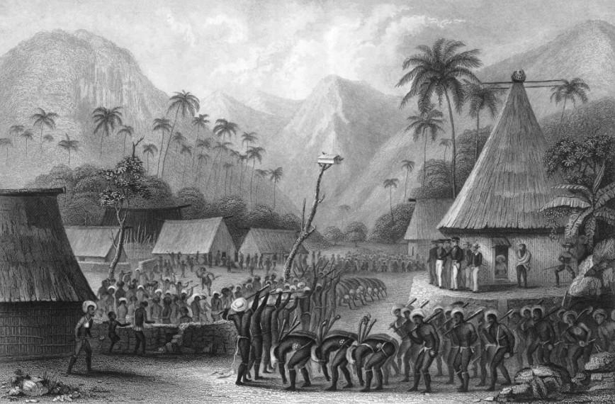 Un village fidjien lors d'une cérémonie ; Savage était diplomatiquement habile, puisqu'il parvint à se faire accepter des Fidjiens et à vivre cinq années parmi eux.