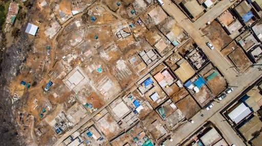 photo aérienne des dégâts causés par le feu de forêts du 2 janvier à Valparaiso - AFP