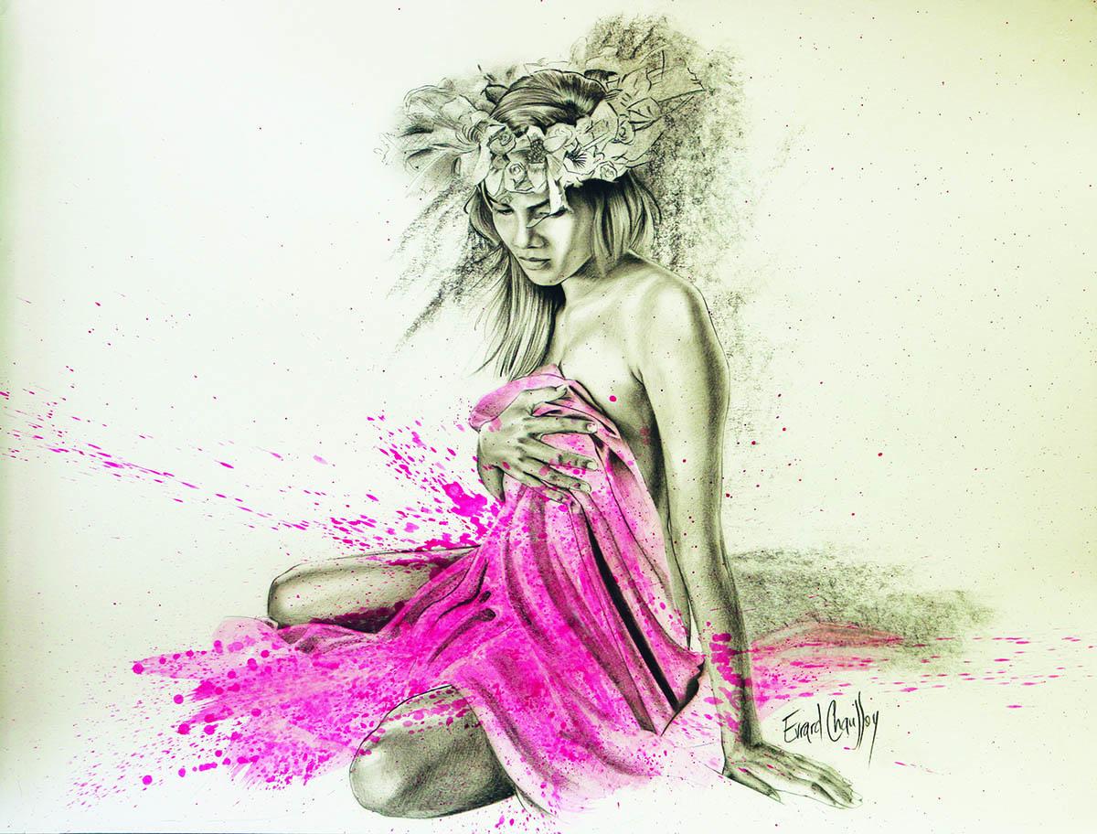 L'artiste utilise principalement de l'acrylique, du fusain et de la pierre noire. Il introduit aussi pour la première fois de la couleur dans ses dessins grâce à la peinture.