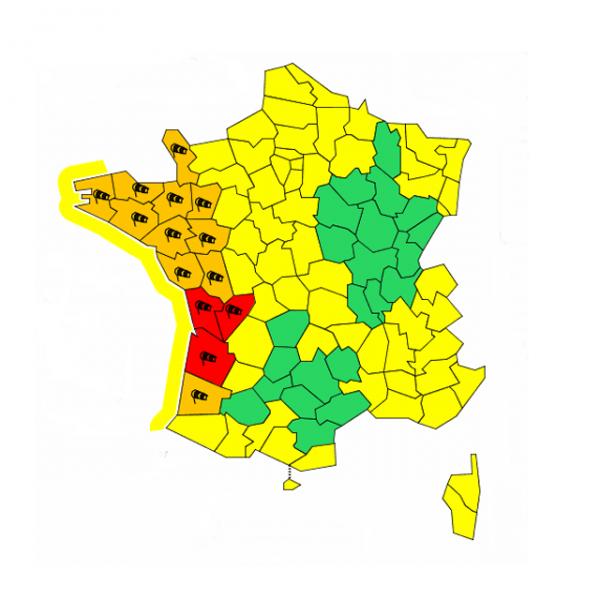 Vents violents: Gironde, Charente et Charente-Maritime en alerte rouge samedi