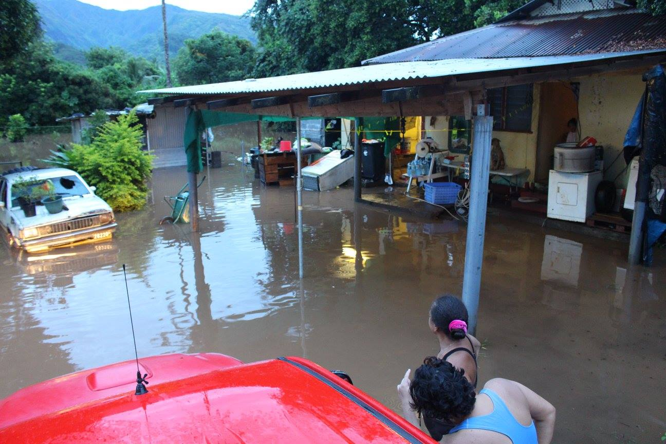 Une habitation touchée par l'inondation suite aux fortes pluies du 3 février à Papeari.
