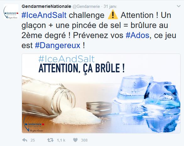 Page enfant : Ice and salt challenge, attention danger !