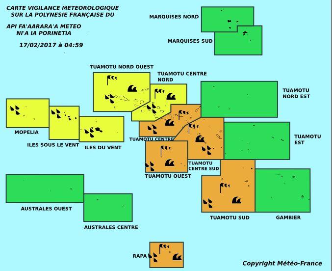 Vigilances météo en cours sur les Tuamotu et la Société