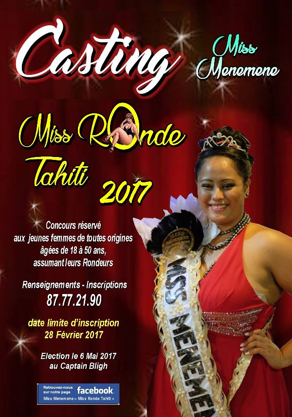 """Miss Menemene """"Miss Ronde Tahiti"""" : les inscriptions ouvertes jusqu'au 28 février"""