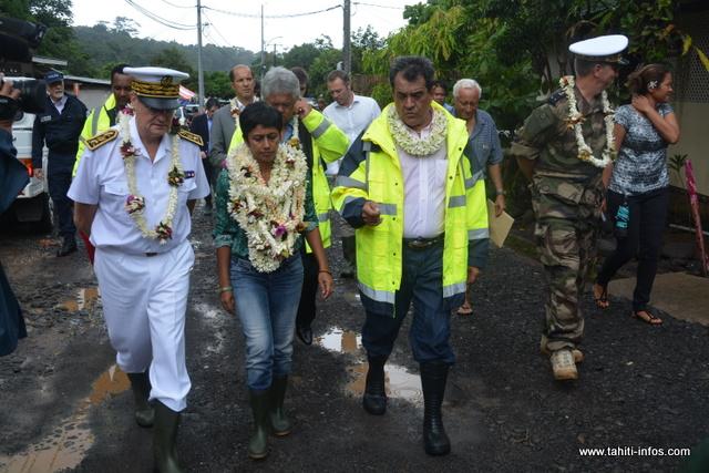 La ministre a été accueillie à Pirae par le maire de la commune.