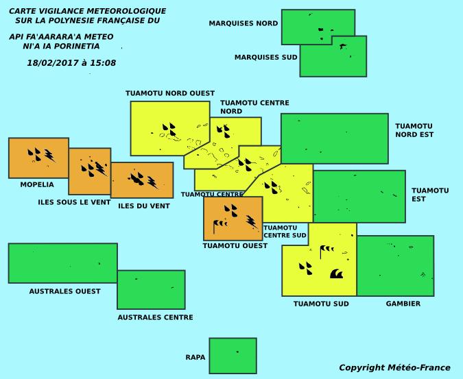 La vigilance reste orange sur la Société et les Tuamotu Ouest