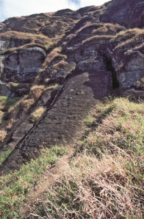 Le plus grand moai en chantier dans la carrière, Te Tokanga, mesurait 21,6 mètres pour un poids estimé à 180 tonnes. Devait-il vraiment être déplacé ?