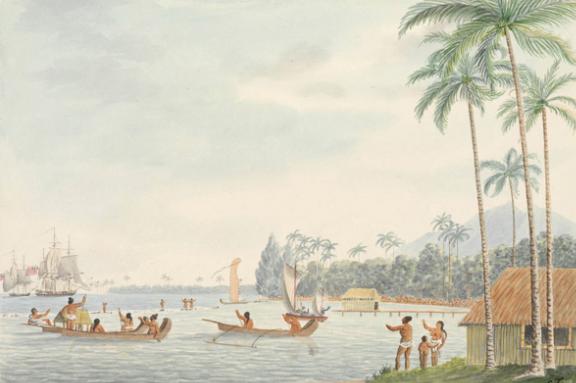 In the district of Oparrey, Island of Otahytey - Au district de Pirae en 1792.