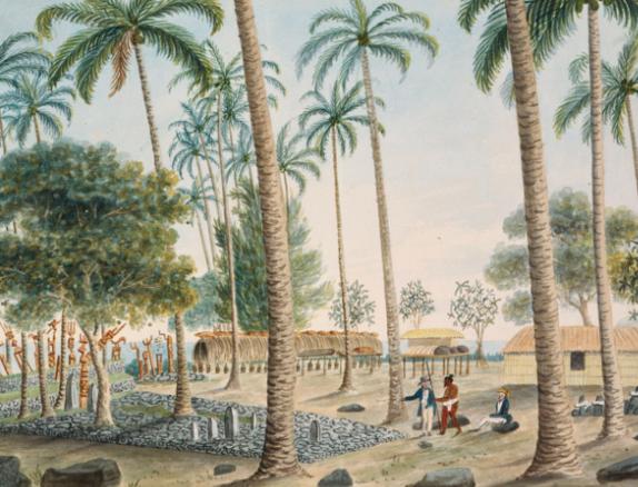 The Morai at Oparrey, Island of Otahytey – Le marae Taputapuatea à Papaoa dans le district de Pirae en 1792.