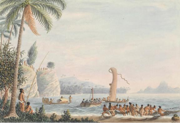 Tarra Heads, in Matavai bay - Island of Otahytey – La pointe du Taraha'a dans la baie de Matavai en 1792