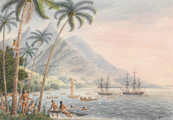 Matavai Bay, Island of Otahytey - Sun set - Coucher de soleil sur la baie de Matavai en 1792