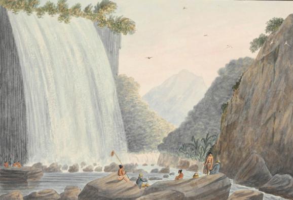 On Matavai River, Island of Otahytey - Te piha, les orgues basaltiques de la Tuauru, Matavai en 1792