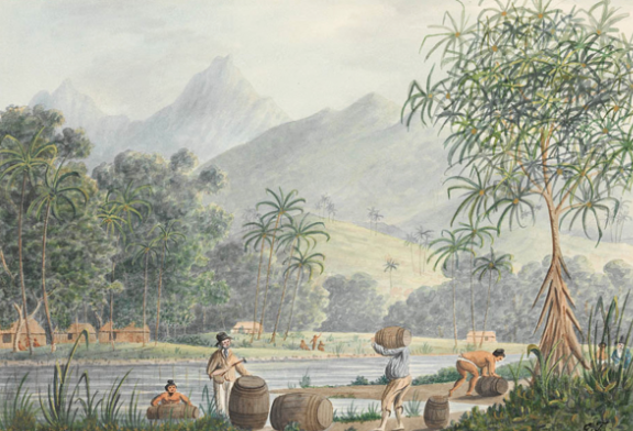 The watering place Matavai - In the Island of Otahytey – l'approvisionement d'eau en baie de Matavai en 1792