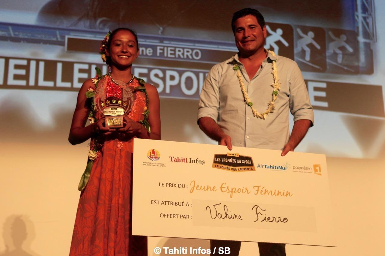 Meilleur espoir femme Vahine Fierro et Torea Colas, directeur marketing d'ATN
