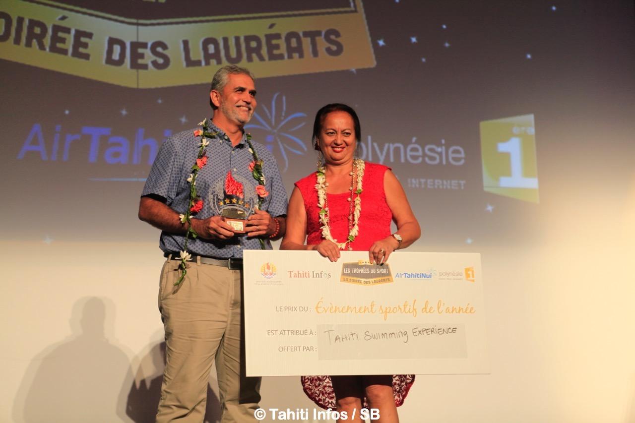 Michel Sommers, président de la fédé de natation et Jasmine Richmond directrice de l'IJSPF