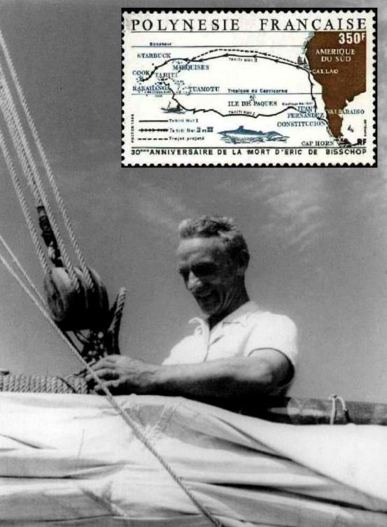 """La Polynésie française, en 1988, a honoré le trentième anniversaire de la mort d'Eric de Bisschop avec ce timbre représentant le voyage aller du """"Tahiti Nui I"""" et le voyage fatal, au retour, du """"Tahiti Nui II""""."""