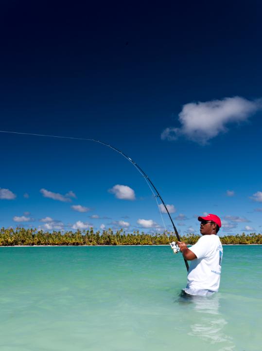 Pêche au lancer sur le lagon ; carangues et becs de cane sont espérés.